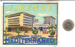 ETIQUETA DE HOTEL  - GRAND HOTEL MEDITERRANEO  -FIRENZE  -ITALIA - Hotel Labels