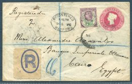 1896 GB Uprated Registered Stationery Cover Watford Bushey - Banque Imperiale Ottoman, Cairo Egypt. Bank - Storia Postale