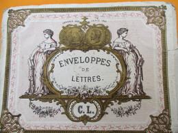 Papeterie/ Dessus De Boite Carton/ Ancienne  Boite D'Enveloppes / C.L./Enveloppes De Lettres / Vers 1870-1880    BFPP211 - Boîtes
