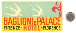 ETIQUETA DE HOTEL  -BAGLIONI E PALACE HOTEL  -FIRENZE -FLORENCE  -ITALIA - Hotel Labels