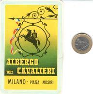 ETIQUETA DE HOTEL  - ALBERGO DEI CAVALLERI  -MILANO  -ITALIA - Hotel Labels