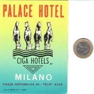 ETIQUETA DE HOTEL  -PALACE HOTEL -MILANO  -ITALIA - Hotel Labels