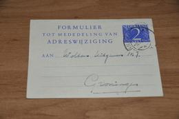 78-   FORMULIER TOT MEDEDELING VAN ADRESWIJZIGING UIT ARNHEM - 1951 - Kaarten