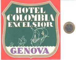 ETIQUETA DE HOTEL  -HOTEL COLOMBIA EXCELSIOR  -GENOVA  -ITALIA - Hotel Labels
