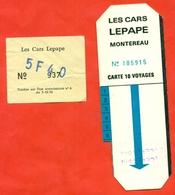 "France 1992. City Montereau. Ticket For 10 Trips In The Bus.Arrow ""blue"" + Ticket De Bus Individuel - Season Ticket"