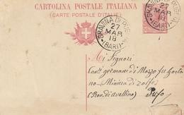 Gravina Di Puglia. 1918. Annullo Grande Cerchio GRAVINA DI PUGLIA (BARI), Su Cartolina Postale Completa Di Testo - 1900-44 Victor Emmanuel III