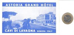 ETIQUETA DE HOTEL  - ASTORIA GRAND HOTEL  -GENOVA  -ITALIA - Hotel Labels
