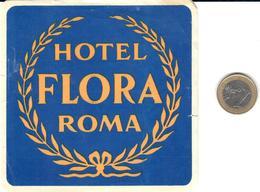 ETIQUETA DE HOTEL  - HOTEL FLORA  -ROMA  -ITALIA - Hotel Labels