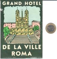 ETIQUETA DE HOTEL  - GRAND HOTEL DE LA VILLE  -ROMA  -ITALIA - Etiquetas De Hotel