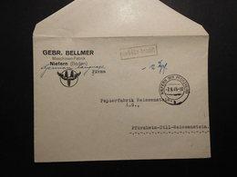 Bizone Gebühr Bezahlt RA + Handschriftlich Firmenbrief  Niefern 7.9.1945 Nach Pforzheim - Zone Anglo-Américaine