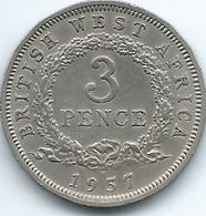 British West Africa - Elizabeth II - 1957 - 3 Pence (KM35) - Security Edge - Scarce Coin - Colonie