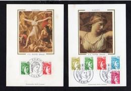 """Lot De 2 / Carte Maximum Premier Jour,Cachet Lille & Paris 1977 & 1978 """" Sabine """" N°1970,1972,1971,1973,1974,1976,1978 - Maximumkarten"""
