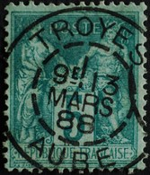 -Sage N°75 Type Ll  .O TROYES 13 Mars 1888 - 1876-1898 Sage (Type II)