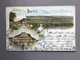 FRICKENHAUSEN - Gruss Aus - Litho - 1900 - Ooievaar - Cigogne - Storch - Allemagne