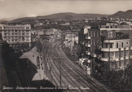 CARTOLINA - GENOVA - SAMPIERDARENA - PANORAMA E PIAZZA VITTORIO VENETO - VIAGGIATA PER COMO - Genova