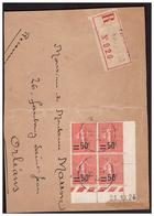 N°220 En Bloc De 4 Daté  Sur Devant De Lettre Rec. De FAYENCE Pour ORLEANS Du 17.2.27. - Storia Postale