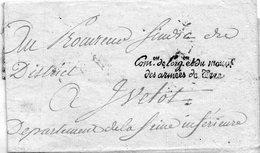 """""""COMon De L-ORGon Et Du MOUVt / Des Armées De Terre"""" L.S.C.,an 2 Pour YVETOT. - Marcophilie (Lettres)"""