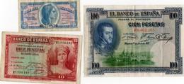 Espagne. 3 Billets.  1935. 1937. 1925.  Scan Du Verso. - Espagne