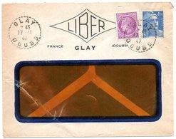 DOUBS - Dépt N° 25 = GLAY 1947 = CACHET MANUEL B4 / RECETTE DISTRIBUTION - Marcophilie (Lettres)