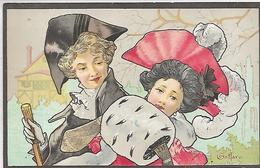 Thème, Illustrateurs Signès, BOTTARO,Jeune Couple, Femme Au Manchon , Couleurs, Scan Recto Verso - Bottaro