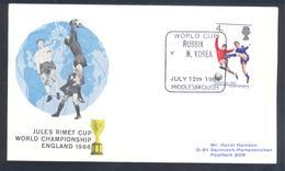 England UK 1966 Cover: Football Fussball Soccer Calcio; FIFA World Cup 1966 England; Jules Rimet Cup Russia - N. Korea - Coupe Du Monde