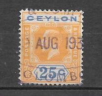 1921 - 28 : Georges V. N°215 Chez YT. (Voir Commentaires) - Ceylon (...-1947)