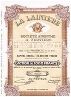 Titre Ancien - La Lainière Société Anonyme à Verviers - Titre De 1945 - Textiel
