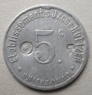 Monnaie De Nécessité - LOIRE 42 - Unieux - Ets Jacob Holtzer 5c - Contremarque Cloche Et Croissant - - Monetari / Di Necessità