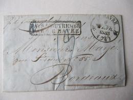 MARQUE POSTALE  LETTRE   MARTINIQUE  Vers  BORDEAUX 1832 - Marcophilie (Lettres)