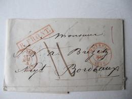 MARQUE POSTALE  LETTRE  TOURNAY  Vers  BORDEAUX 1848 - Marcophilie (Lettres)