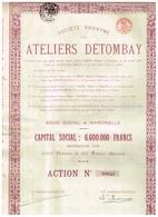 Titre Ancien -  Société Anonyme Des Ateliers Detombay - Titre De 1924 - Industrie