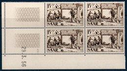 SARRE 1956 Au Profit De La Croix Rouge Bloc De 4 Coin Daté    N° YT 352 ** MNH - 1947-56 Occupation Alliée