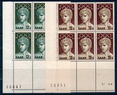 SARRE 1956 Jeux Olympiques De Melbourne Blocs De 6 Coin De Feuille   N° YT 353-354 ** MNH - 1947-56 Occupation Alliée