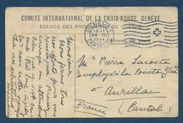 Carte Du Comité Croix Rouge Genève -Agence Des Prisonniers De Guerre - Tarjetas De Franquicia Militare