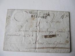 MARQUE POSTALE  LETTRE  SUISSE Vers  BAZAS  1817 - Marcophilie (Lettres)