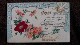 CPA GAUFFREE BOUQUET DE FLEURS GRUSS DECOR 1903 - Fantasie