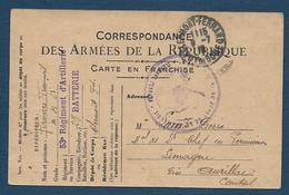 Carte F.M. Avec Cachet  Du  Dépot Du 53e D' Artillerie Clermont Ferrand - Tarjetas De Franquicia Militare
