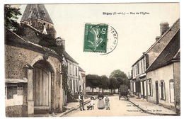 DIGNY (28) - Rue De L' Eglise - Carte Colorisée - Ed. Marié - Photo-Coul. J. Bouveret, Le Mans - Frankrijk