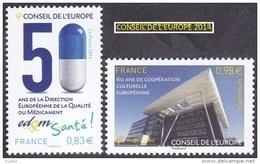 France - Timbre De Service N° 159 Et 160 ** Conseil De L'Europe 2014 - Santé Et Coopération Culturelle - Officials