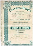 Titre Ancien - Crayères Belges Société Anonyme - Titre De 1928 - Mines