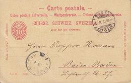 Switzerland UPU Postal Stationery Ganzsache Intero BASEL 1891 BADEN BADEN Germany (Arr.) Cds. (2 Scans) - Entiers Postaux