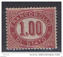REGNO:  1875  SERVIZIO  -  1.00  LACCA  N. -  SASS. 5 - 1861-78 Vittorio Emanuele II