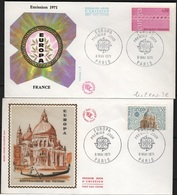 FDC 250 - FRANCE N° 1676/77 EUROPA Sur 2 FDC 1971 - FDC