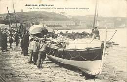 - Finistere - Ref-E183- Audierne - Après La Tempête - Rentrée Du Bateau De Sauvetage - Bateaux De Sauvetage - - Audierne