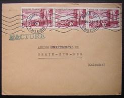 Paris 28 1957 Laboratoires Couchoud Affranchie Avec Une Bande De 3 N° 1036 (région Bordelaise) - Poststempel (Briefe)