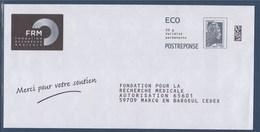 = Entier Marianne L'Engagée Posteréponse ECO 20g FRM Fondation Recherche Médicale Type Timbre 5251 - Entiers Postaux