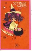 Hi ! What's Cookin' ?...Hope It's A Happy Halloween Petite Sorcière Remuant Un Chaudron  Carte Double Format 14-9 - Halloween