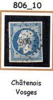 France : Petit Chiffre N°806 : Chatenois ( Vosges) Indice 10 - Storia Postale (Francobolli Sciolti)