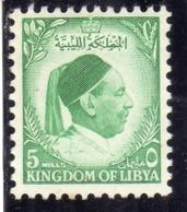 UNITED KINGDOM OF LIBYA REGNO UNITO DI LIBIA 1952 RE IDRISS KING MILLS 5m MNH - Libia