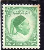 UNITED KINGDOM OF LIBYA REGNO UNITO DI LIBIA 1952 RE IDRISS KING MILLS 5m MH - Libia